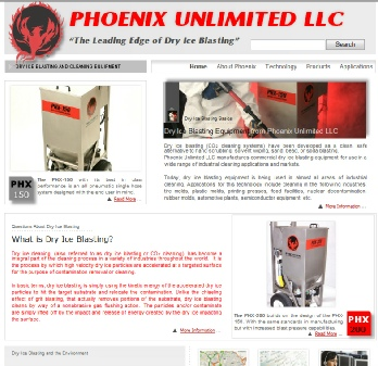 New dry ice blasting web site from Phoenix Unlimited LLC featuring PHX series dry ice blasters